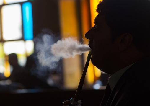 Man Smoking In Qaysari Bazaar, Erbil, Kurdistan, Iraq