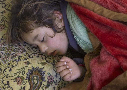Sleeping Yezedi Refugee Child From Sinjar Sleeping, Duhok, Kurdistan, Iraq