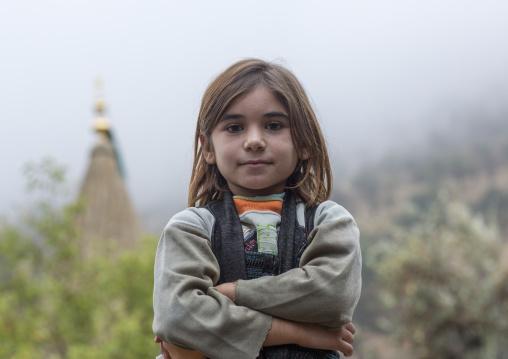 Yezidi Refugee Gilr Displaced From Sinjar Living In Lalesh Temple, Kurdistan, Iraq