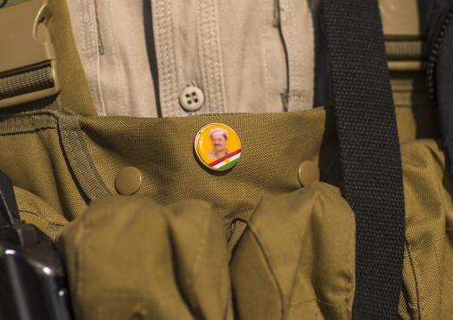 Kurdish Peshmerga On The Frontline With A President Massoud Barzani Badge, Duhok, Kurdistan, Iraq