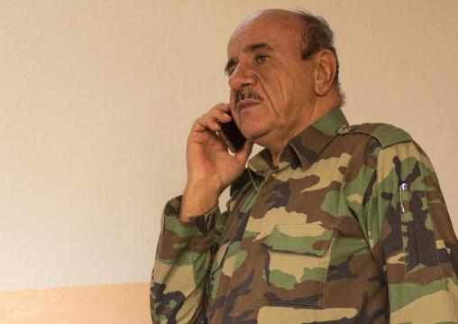 Kurdish General Peshmerga On The Phone On The Frontline, Duhok, Kurdistan, Iraq