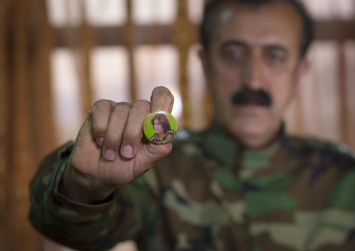 Yousuf Majid With A Badge Of His Dead Daughter Captain Rangin Yousuf Killed By Daesh, Sulaymaniyah, Kurdistan, Iraq