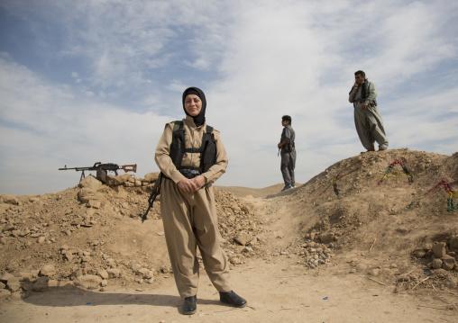 Veiled Peshmergas Women Of The 2Nd Battalion On The Frontline, Taza, Kurdistan, Iraq