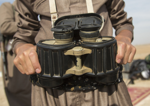 Kurdish Peshmerga With Binoculars On The Frontline, Kirkuk, Kurdistan, Iraq
