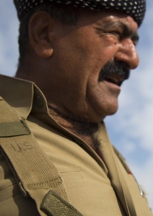 Kurdish Peshmerga On The Frontline With An American Army Unifrom, Kirkuk, Kurdistan, Iraq