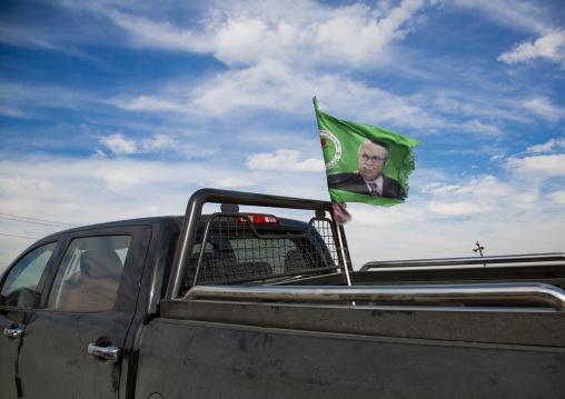 Peshmerga Car With A President Talabani Patriotic Union Of Kurdistan Flag, Kirkuk, Kurdistan, Iraq