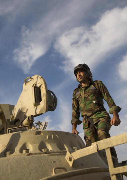 Kurdish Peshmerga Tank Pilot On The Frontline, Kirkuk, Kurdistan, Iraq