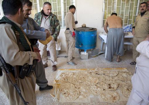 Kurdish Peshmergas On The Frontline In A Kitchen, Kirkuk, Kurdistan, Iraq
