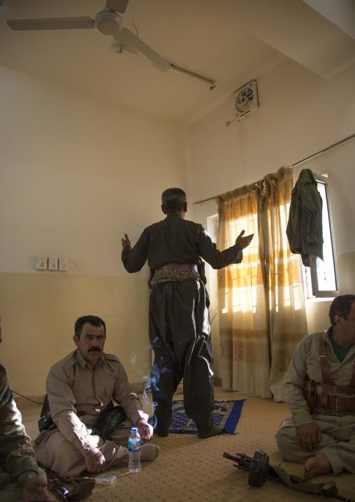 Kurdish Peshmerga Praying Before Going To The Frontline, Kirkuk, Kurdistan, Iraq