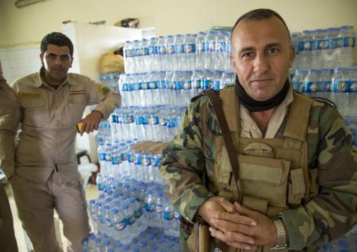 Kurdish Peshmergas In A Kitchen On The Frontline, Kirkuk, Kurdistan, Iraq