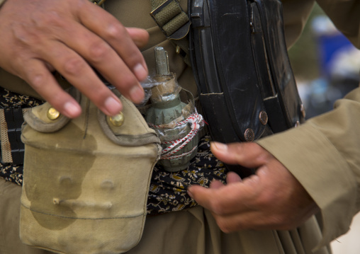 Kurdish Peshmerga With A Hand Grenade On The Frontline, Kirkuk, Kurdistan, Iraq