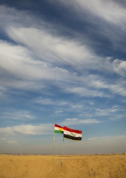 Iraqi And Kurdish Flags On The Frontline, Kirkuk, Kurdistan, Iraq