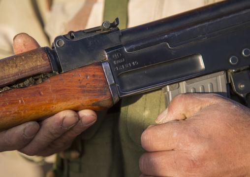 Kurdish Peshmerga Holding 1960 Kalashnikov On The Frontline, Kirkuk, Kurdistan, Iraq