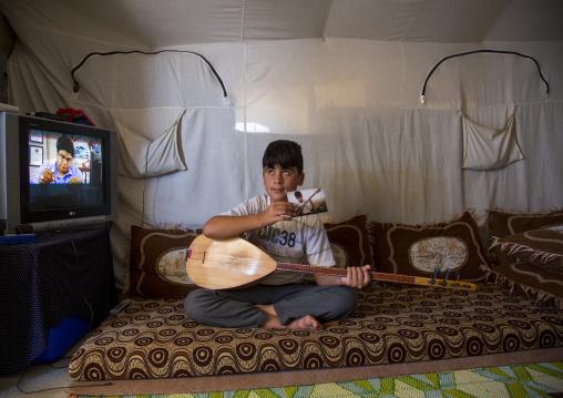 Dylan, A Blind Syrian Refugee Playing Saz In Qushtapa Refugee Camp, Erbil