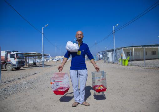 Man Carrying Bird Cages In Qushtapa Refugee Camp, Erbil, Kurdistan, Iraq