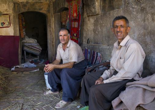 Men Sitting Inside An Old Caravanserai, Koya, Kurdistan, Iraq