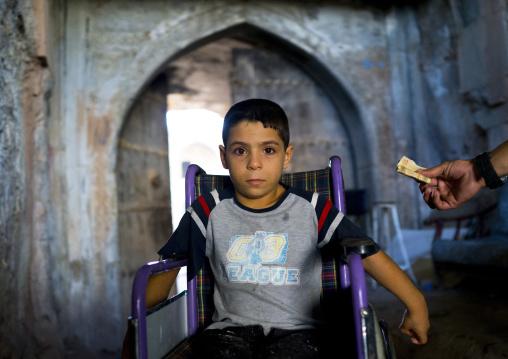 Syrian Refugee Boy In A Wheelchair, Koya, Kurdistan, Iraq