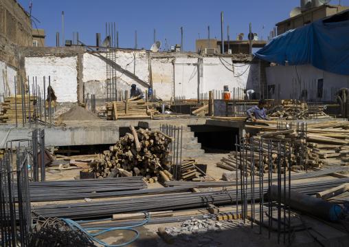 Workers On A Building Site, Erbil, Kurdistan, Iraq