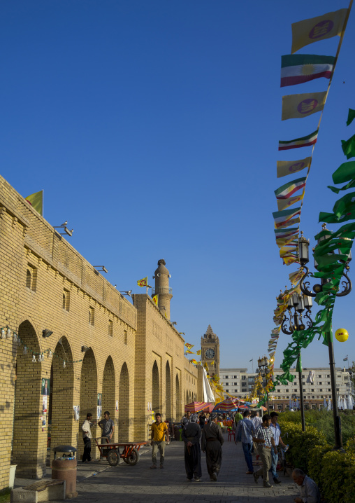New Plaza And Fountain At The Base Of The Erbil Citadel, Kurdistan, Iraq