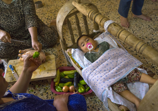 Yazidi Mother And Her Baby In The Temple City Of Lalesh, Kurdistan, Iraq