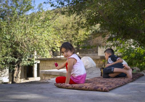 Yazidi Children In The Temple City Of Lalesh, Kurdistan, Iraq