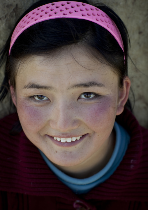 Smiling Girl With Headband, Song Kol Lake Area, Kyrgyzstan