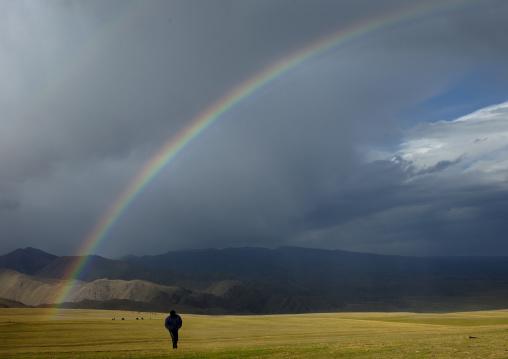 Rainbow On The Steppe, Saralasaz Jailoo, Kyrgyzstan