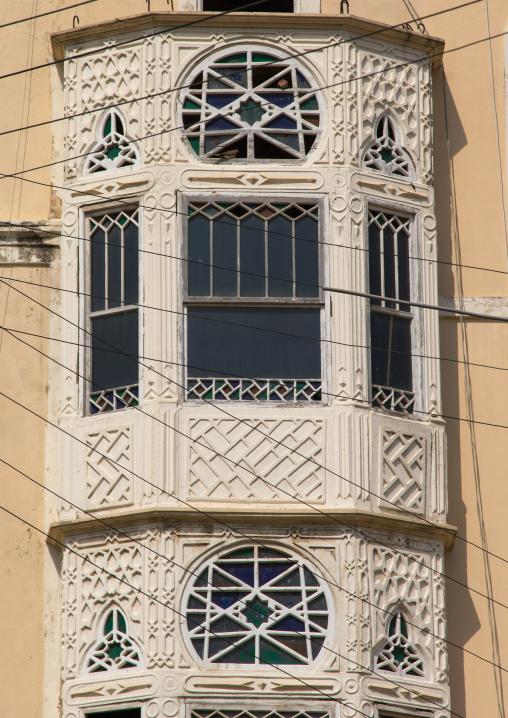 Traditional mashrabiya of an old building, North Governorate, Tripoli, Lebanon