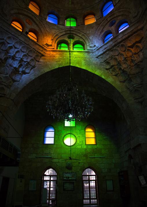 Inside al Bourtasi mosque with its beautiful coloured glass windows, North Governorate, Tripoli, Lebanon