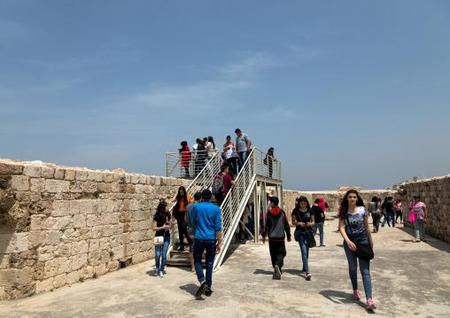 Lebanese students visiting the citadel of Raymond de Saint-Gilles, North Governorate, Tripoli, Lebanon