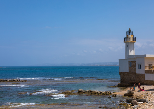 Lighthouse on a beach, South Governorate, Tyre, Lebanon