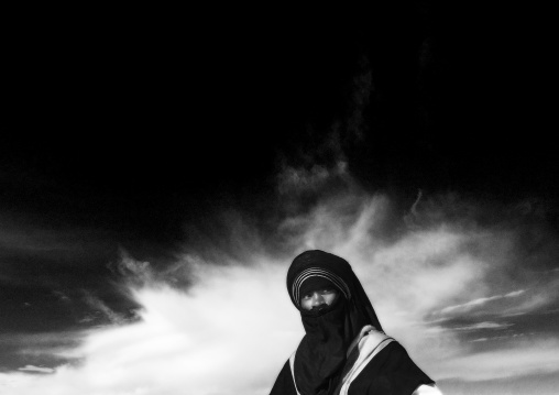 Portrait of a tuareg man against the sky, Tripolitania, Ghadames, Libya