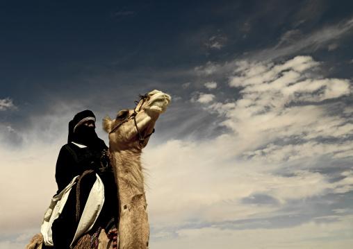 Tuareg man riding his camel, Tripolitania, Ghadames, Libya