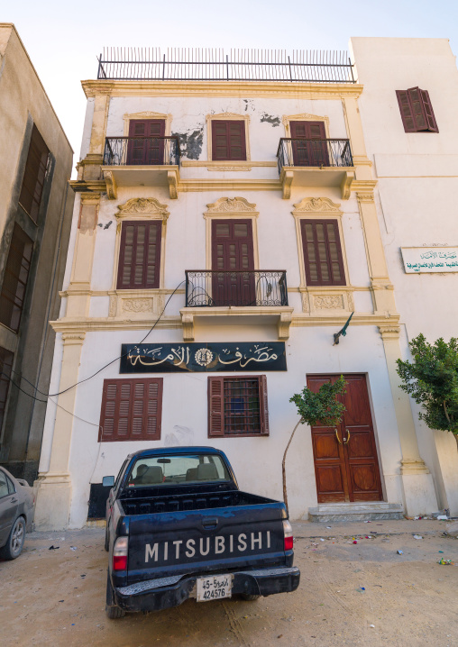 Car parked in the medina in front a door, Tripolitania, Tripoli, Libya