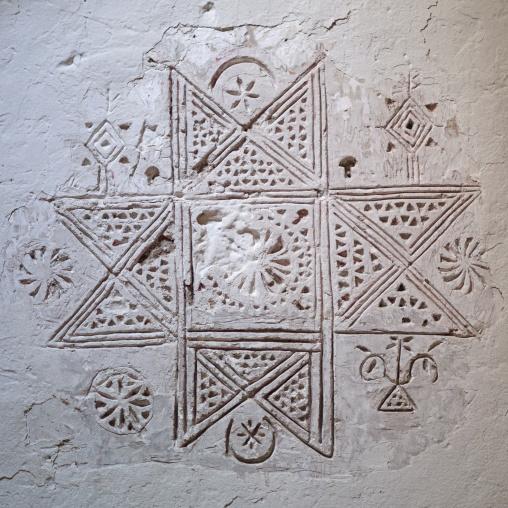 Berber eight-pointed star decoration on a wall, Tripolitania, Ghadames, Libya
