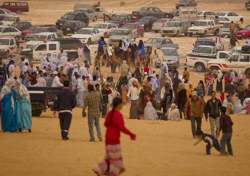 People and cars in the desert, Tripolitania, Ghadames, Libya