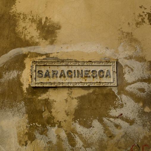 Old italian sign on the wall, Tripolitania, Tripoli, Libya