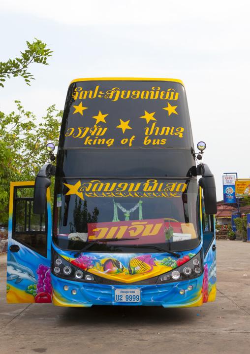 Thailand tourist bus, Pakse, Laos