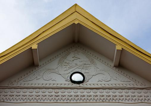 Communist symboles on a house, Pakse, Laos