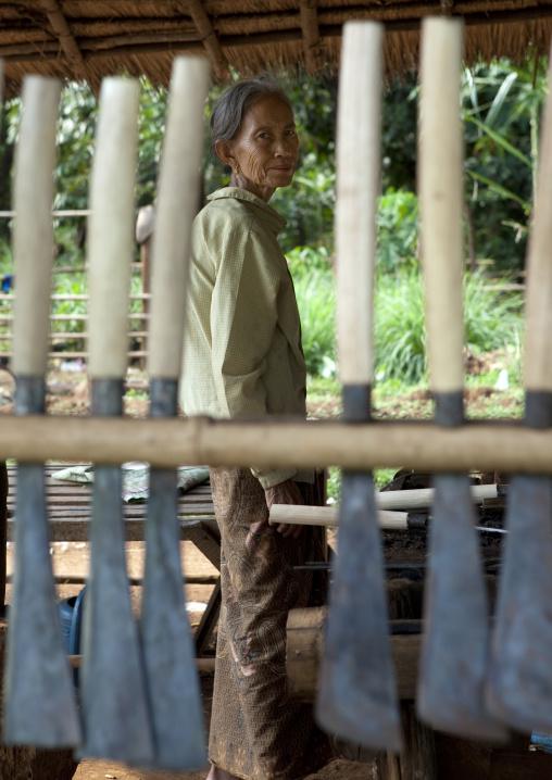Blacksmith woman, Boloven, Laos