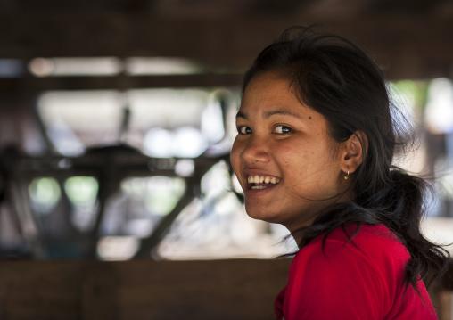 Smiling bru minority woman, Phonsaad, Laos