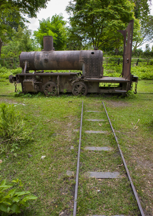 Remains of old miniature gauge train engine used by french colonialists, Don khong island, Laos