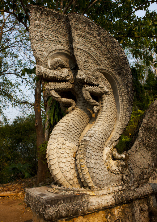 Dragons in a buddhist temple, Champasak, Laos