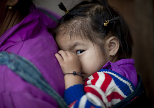 Shy thai kaho minority girl, Ban sam kang, Laos