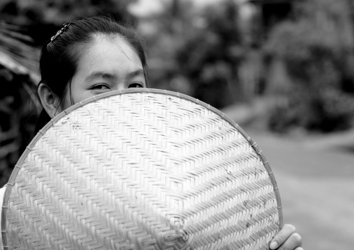 Thai kaho minority woman with a conical hat, Ban sam kang, Laos