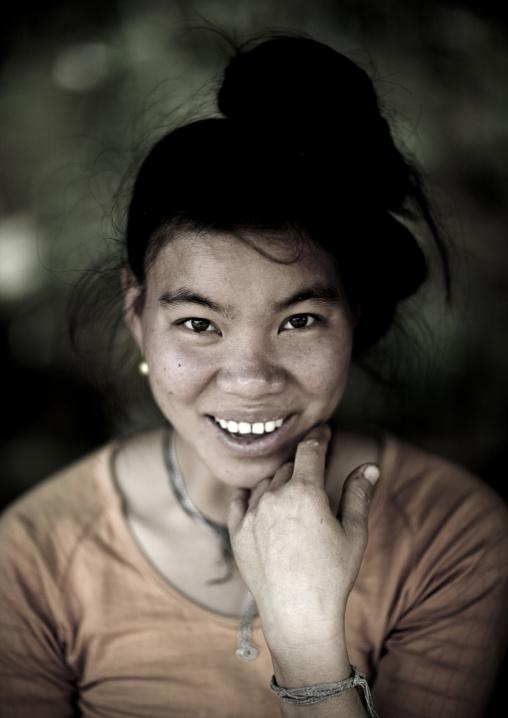 Smiling thai dam minority woman, Luang namtha, Laos