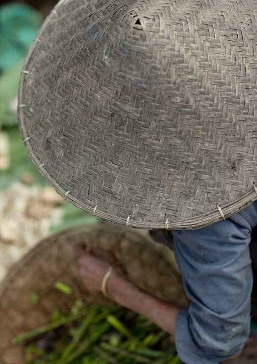 Khmu woman conical hat, Luang namtha, Laos