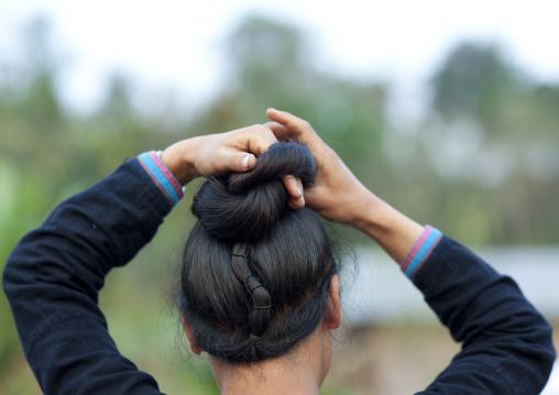 Lantaen minority woman, Nam deng, Laos