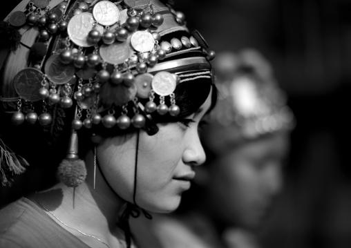 Akha minority women with traditional headdresses, Muang sing, Laos