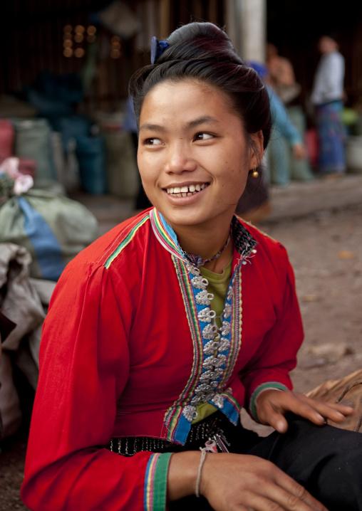 Akha woman in market, Muang sing, Laos